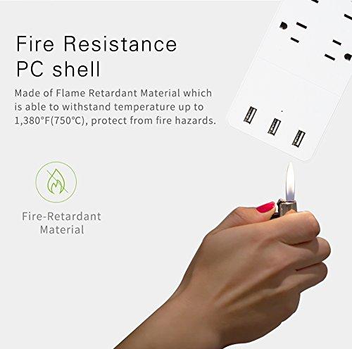 Buy power strip surge protector flat plug