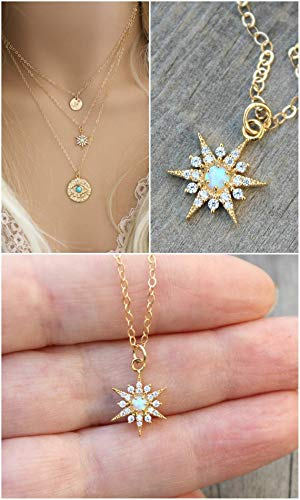 (Starburst necklace, Blue Opal, 14k gold filled chain, celestial cubic zirconia North Star pendant, cz diamonds, layering, potionumber9)