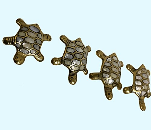 Antiques World Nautical Stylish Décor Beautiful Set Of 4 Traditional Tortoise (Turtle) Fengshui Vastu Oyster Shell Collectible AWUSABI 05