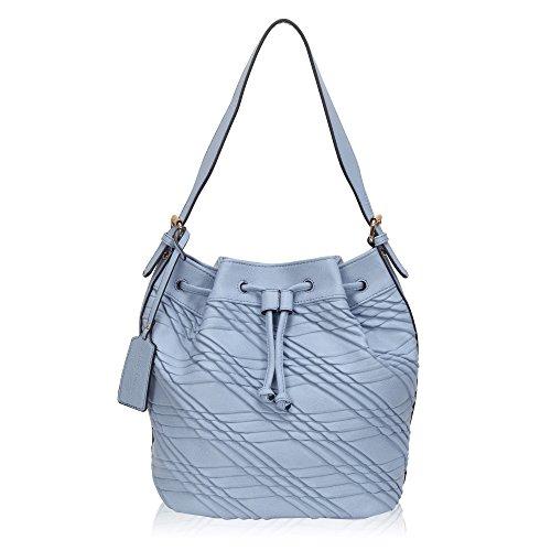 Hazlmay Round Base Leather Drawstring Bucket Bag Women's Medium Shoulder (Signature Drawstring Handbag)