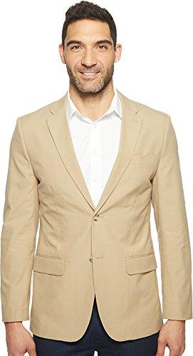 Perry Ellis Men's Slim Fit Travel Luxe Cotton Jacket Pale Khaki Outerwear - Perry Ellis Khaki