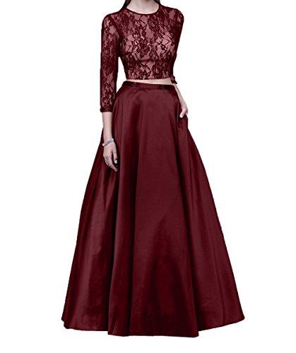 2018 Promkleider Festlichkleider Brautmutterkleider Burgundy Damen Langarm Lang Charmant Linie Spitze A Abendkleider Neu wxFHTRC5q