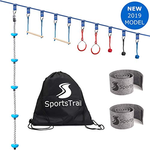 Ninja Slackline Monkey Bars Kit, 42'' Jungle Gym Obstacle Course for Kids and Adults + Climbing Rope, Warrior Training Obstacle Course Equipment, Slackline Gymnastic Bar, Tree Protector & Carry - Course Obstacle