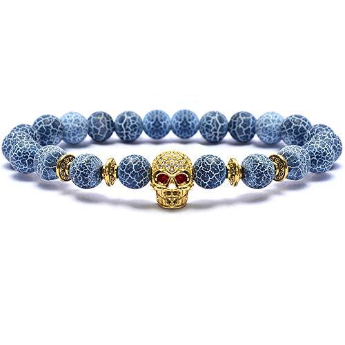 (Bohai Semi Precious Gemstone 8mm Weathered Agate Gold Head Round Beads Stretch Bracelet Unisex)