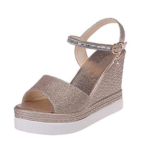 Crimeng Women Wedge Platform Sandal Classic Peep Toe Slip-Resistant Ankle Buckle High Heeled Sandals
