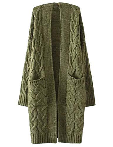 Autunno Invernali Relaxed Pullover Donne Donna Comodo Battercake Cappotto A Monocromo Outerwear Tasche Grün Con Maniche Fashion Eleganti Casuale Giacca Maglia Lunghe Casual UGSVzpLqM