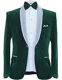 Men's Tuxedo Suit Slim Fit 2-Piece Velvet Blazer Party One Button Stylish Dinner Jacket & Pants