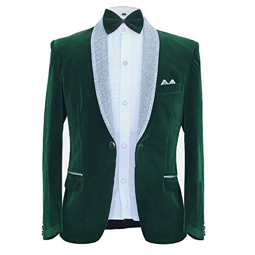 One Button Velvet Jacket - MAGE MALE Men's 2-Piece Suit Velvet Blazer Party Tuxedo Slim Fit One Button Stylish Dinner Jacket & Pants & Bow Tie (025-Green, X-Small)