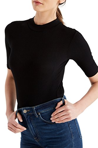 Womens Fashion Trendy Mock Neck Stretch Ribbed Bodysuit Short Sleeves Soft Top USA BK M