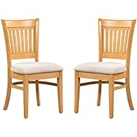 Trithi Furniture - Bellingham Solid Wood Kitchen & Dining Chair with Upholstered Seat - Set of 2 (Oak)
