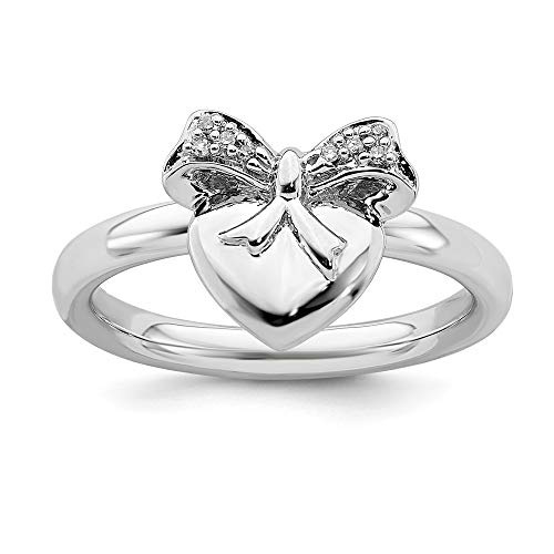 925 Sterling Silver Heart Bow Diamond Band Ring Size 5.00 S/love Stackable Fancy Fine Jewelry Gifts For Women For Her
