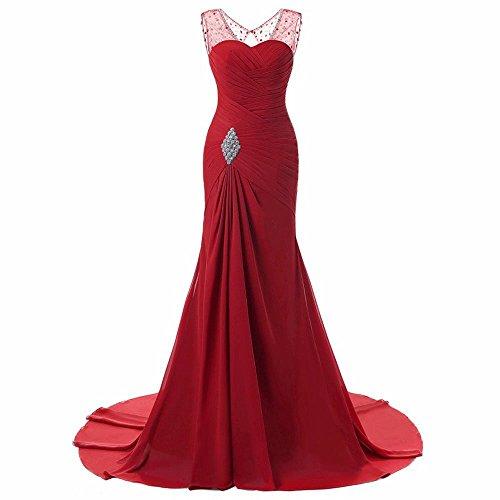 Ma Chérie Longue En Mousseline De Femmes Asbridal Robes De Soirée Sirène Robes De Bal De Cristal Rouge