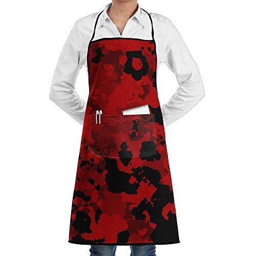 PIHJE Apron Red Military Camouflage Faction Unisex Kitchen Cooking Garden Apron,Convenient Adjustable Sewing Pocket Waterproof Chef Aprons