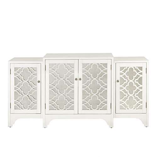 Madison Park MP133-0713 Verona Media Console Cabinet - Modern Mid-Century, Quaterfoil Mirrored Door Design Buffet/Sideboard Accent Living Room Furniture, 68