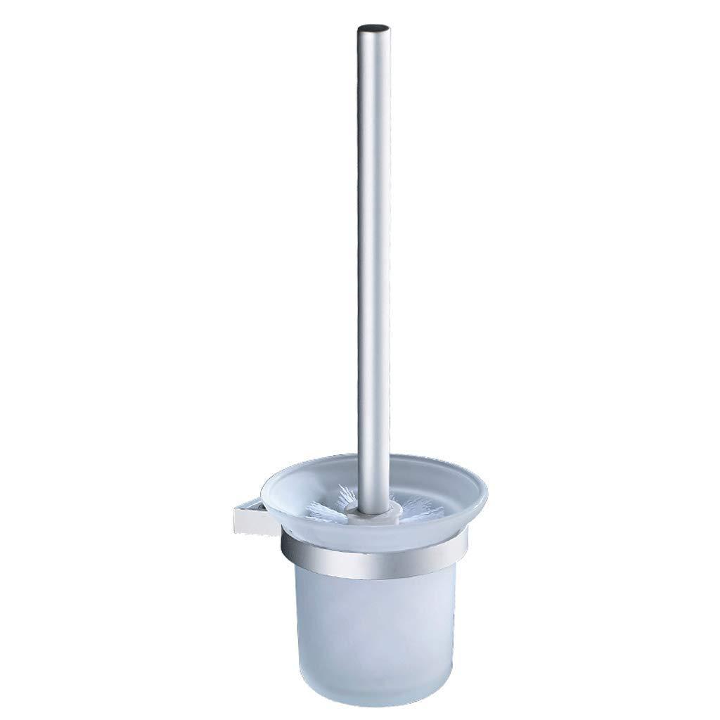 YXN Toilet Brush Set Shelf Space Aluminum Wall-Mounted Washing Toilet Cleaning Brush Holder Anti-Corrosion Waterproof Glass Brush Cup Toilet Rack Silver H34.5 cm