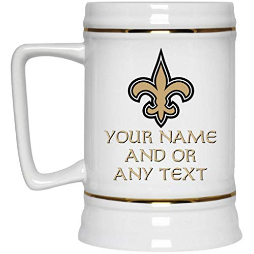 Custom Personalized New Orleans Saints Beer Mug Saints Logo Beer Stein 22 oz White Ceramic Beer Cup NFL NFC Perfect Unique Gift for any New Orleans Saints Fan