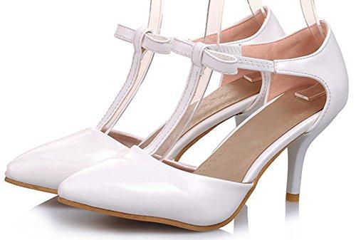 Idifu Damessandalen Sweet Bow Puntschoen Stiletto Kitten Hak Pumps T-strap Sandalen Wit