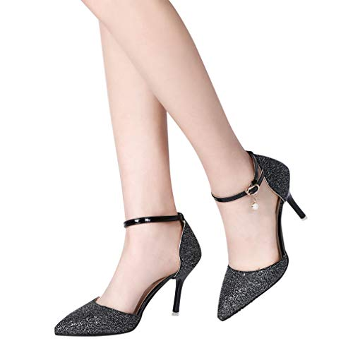 Sequin , Slip Noir Hauts Femmes Chaussures Boucle Sexy À Pour Non À Talons Femme Pin Et Pour Sandales Zyueer Bout 5v8qX