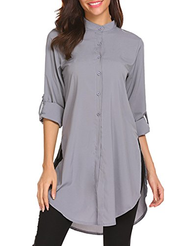 Grey Sleeve Button OFA Down Boyfriend Tunic Womens Casual Long Top AL Long Shirt 7UnBqg7