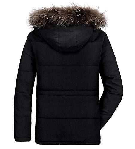 Homme Parka Hiver Blousons Chaud Manteau Fourrure Capuche Veste Militaire Blouson Multi-Poche Men Winter Casual Jacket 2