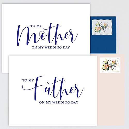 SET OF 2 - To My Mother and Father on My Wedding Day Cards - White Cards with Navy Blue Print, Blush Pink and Navy Blue Envelopes (Letter To My Mom On My Wedding Day)