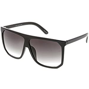 sunglassLA - Oversize Two Toned Flat Top Sunglasses With Square Lens 62mm (Shiny Matte Black / Lavender)