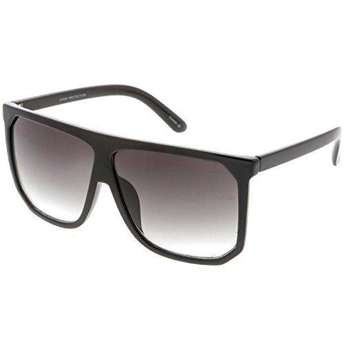 sunglassLA - Oversize Two Toned Flat Top Sunglasses With Square Lens 62mm (Shiny Matte Black / - Kardashian Kim Black Sunglasses