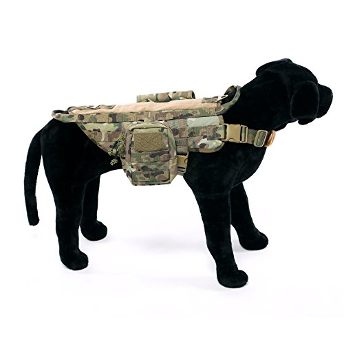 Yisibo Tactical Harness Dog Vest Training Molle Nylon Compact Dog Pet Vest Packs with 2 Detachable Pouches Camouflage Pattern S
