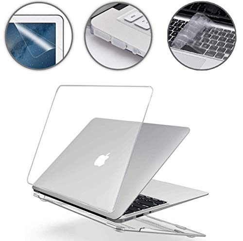 Applefuns Laptop Apple MacBook A1466 MacBook air case Hard Shell Case (Models: A1369 and A1466) Crystal Clear case + Keyboard Cover + Screen Protector + Dust Plug for - Crystal -
