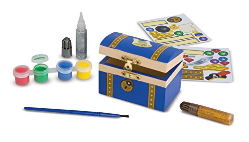 Melissa & Doug Decorate-Your-Own Wooden Pirate Chest Craft Kit (Pirate Adventure Fun Kit)