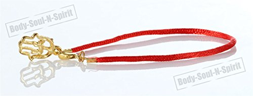 Red String Bracelet Lucky Charm Gold Color Hamsa Pendantt Kabbalah Jewelry ()