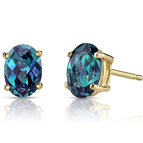 14K Yellow Gold Oval Shape 2.00 Carats Created Alexandrite Stud Earrings ()
