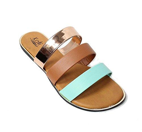 Kali Footwear Women's Triple Strap Gladiator Slide Sandal Mint Mix, 7