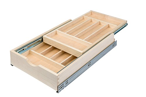 Century Components DTIER14PF-FF Wood Silverware Tray Cabinet Drawer Organizer - Double Tier 14-7/8'' by Century Components
