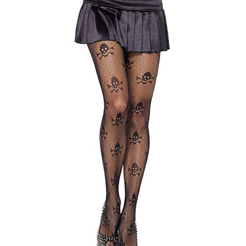 - RICHEE-NL Women Sexy Holloween Socks Skull Black Lace Tights Pantyhose 2 Pairs, Skull