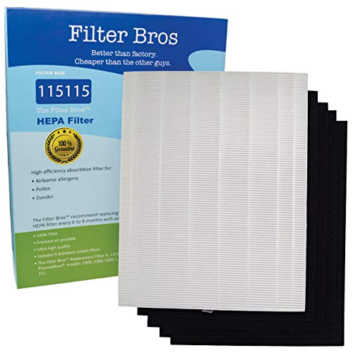 115115 True HEPA Replacement Filter 'A' Combo for Winix Plasmawave Series Home Air Cleaner Purifiers(6300, P300, 5300, 5500, 5500-2, 5300-2, 6300-2, 9500, C535) Plus 4 Carbon Odor Reducing Pre-Filters]()
