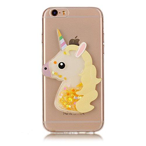 Funda iPhone 6S Plus, Carcasa iPhone 6 Plus, Caselover 3D Bling Silicona TPU Unicornio Carcasas para iPhone 6S Plus / 6 Plus Glitter Líquido Arena Movediza Protección Caso Sparkle Brillar Cristal Tapa Unicornio Amarillo