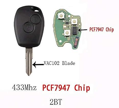 Chiave Telecomando con Scheda Elettronica 2 Tasti per Renault Megane 2 Scenic Clio Kangoo Dacia Duster Transponder con Portachiavi KASER 433Mhz PCF7947 Chip