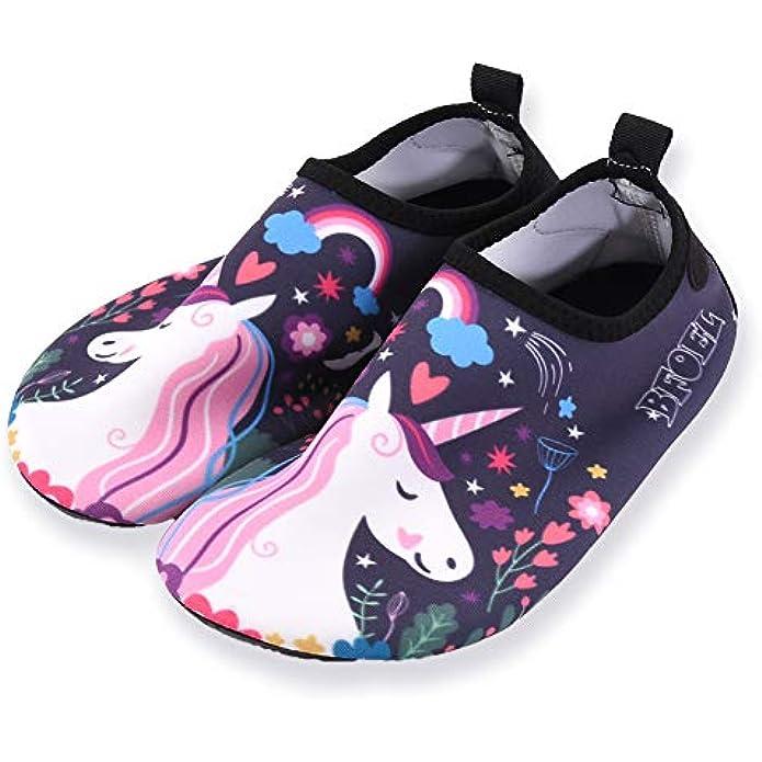 BFOEL Kids Water Shoes for Toddler Boys Girls Big Kids Water Shoes Swim Socks Quick Dry Non-Slip Water Beach Aqua Sports Shoes