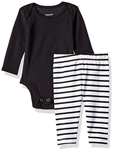 Hanes Ultimate Baby Flexy 2 Piece Set (Pant with Long Sleeve Bodysuit), Black Stripe, 18-24 Months ()