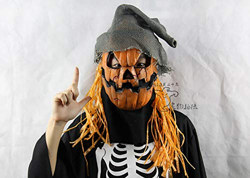 Halloween High-Grade Latex Pumpkin Scarecrow Horror Mask Wig Ball Performance Props Movie Props (Scarecrow Latex Mask)