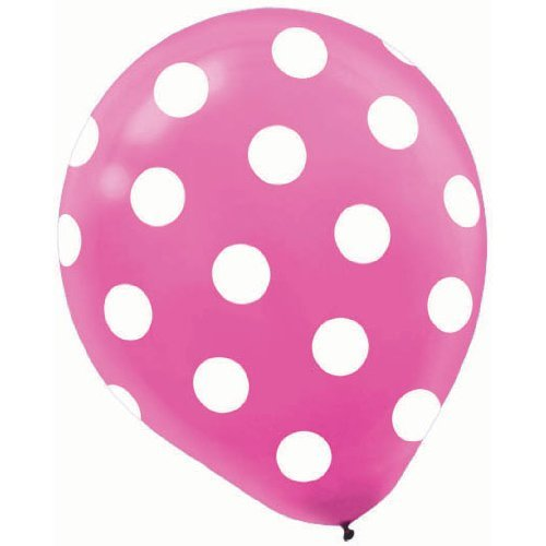Amscan Polka Dots All Over Printed Balloon Party Decorations Latex Pack of 6 Supplies (72 Piece), Bright Pink, 12''