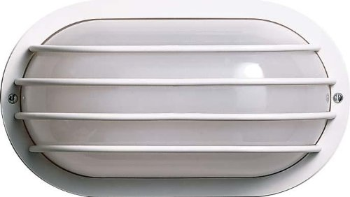 Light Fixtures Oval Bulkhead Cage - Nuvo SF77/894 Bulkhead 1-Light Oval Cage Energy Star CFL, Textured Black