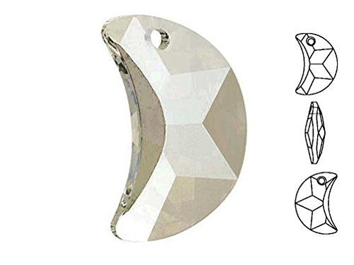 - 1 Pc Swarovski 6722 Crescent Moon Pendant Crystal Silver Shade 50mm