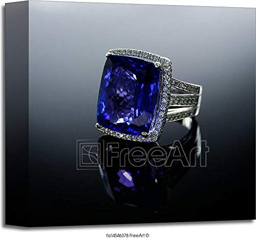 18k 18k Wg Ring - Barewalls 18 Ct Wg Tanzanite Diamond Ring Gallery Wrapped Canvas Art (12in. x 12in.)