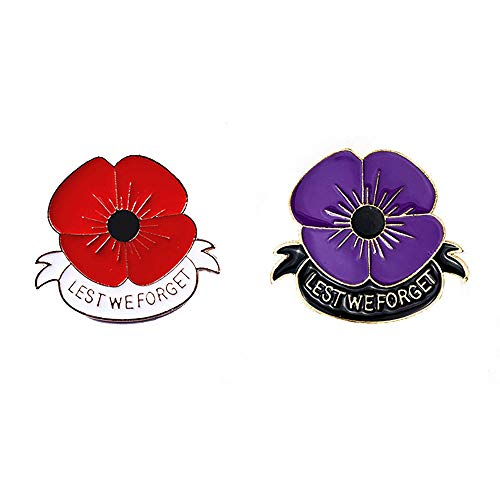 CAROMAY 2PC Memorial Enamel Brooches Red Purple Poppy Lapel Pin Remembrance Veterans Day Breastpin Broach Lest We Forget