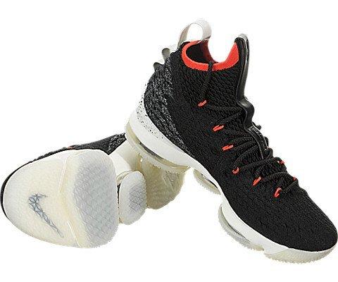 Nike Men's Lebron XV Machine 61 Shoe Black/SAIL/Bright Crimson (10.5 D(M) US)