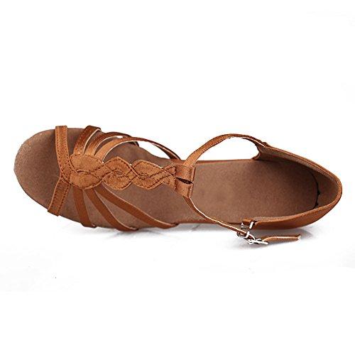 HROYL Zapatos de baile/Zapatos latinos de satín mujeres ES7-F30 7CM Marrón