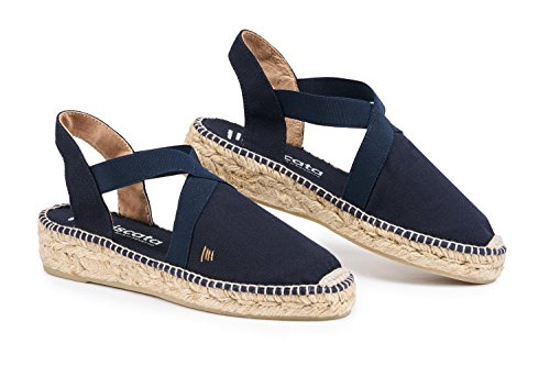 VISCATA Cadaques 1 Wedge, Soft Canvas with Elastic Straps, Closed Toe, Espadrilles Heel Made in Spain