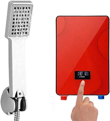 Tankless Water Heater, 220V 6500W Portable Digital Tankless Instant Electric Hot Water Heater Shower System for Home Bathroom Shower USA Stock Red